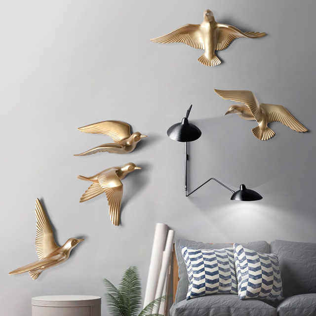 5pcs/set Creative 3D Resin bird Home Decoration decor wall stickers decoration Furnishings The dove of peace for European mascot 5