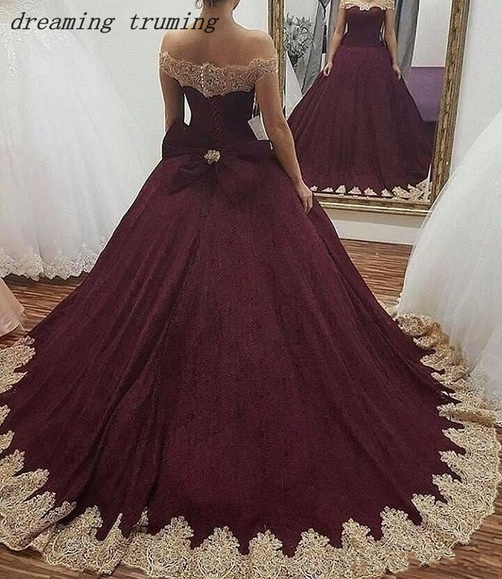 Burgundy Ball Gown Quinceanera Dresses Lace Appliques Puffy Tulle Floor  Length Princess Dresses 15 Years Quinceanera b6204211e33c