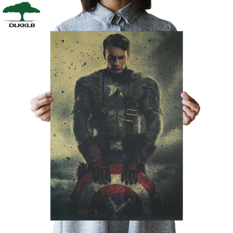 DLKKLB Marvel Superhero Vintage Poster American Captain Inspirational Home Decoration Wall Stickers Retro Decorative Painting