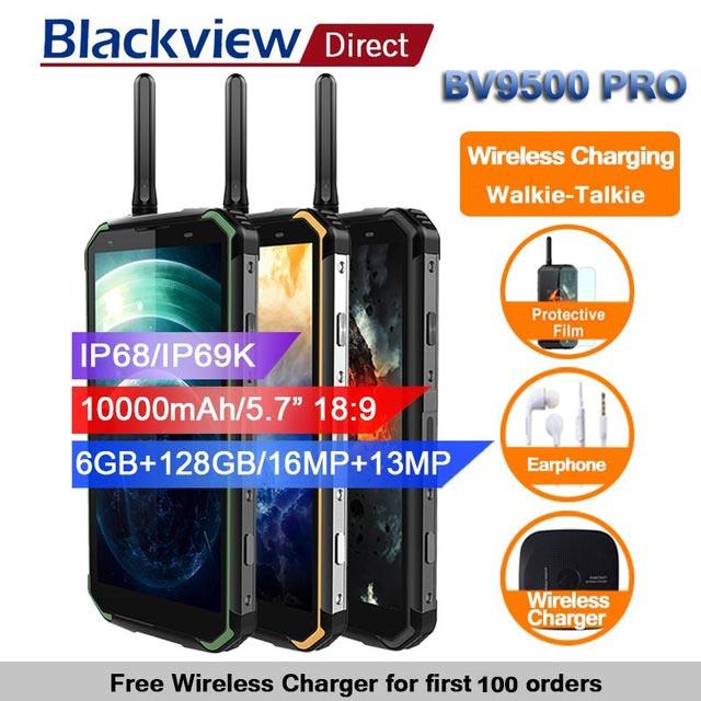 Blackview BV9500 pro 10000 mah IP68 Étanche Smartphone android 8.1 5.7 18:9 6 gb 128 gb talkie walkie visage ID 4g téléphones Global
