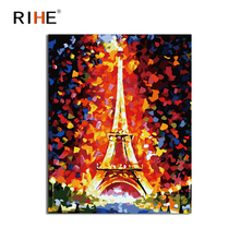 RIHE London Tower Diy Painting By Numbers Abstract Landscape Oil On Canvas Cuadros Decoracion Acrylic Wall Picture 2018