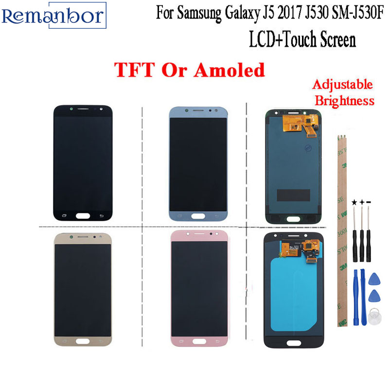 Remanbor For Samsung Galaxy J5 2017 LCD J530 SM-J530F LCD Display and Touch Screen Amoled 5.2 Adjust Brightness +Tools+AdhesiveRemanbor For Samsung Galaxy J5 2017 LCD J530 SM-J530F LCD Display and Touch Screen Amoled 5.2 Adjust Brightness +Tools+Adhesive
