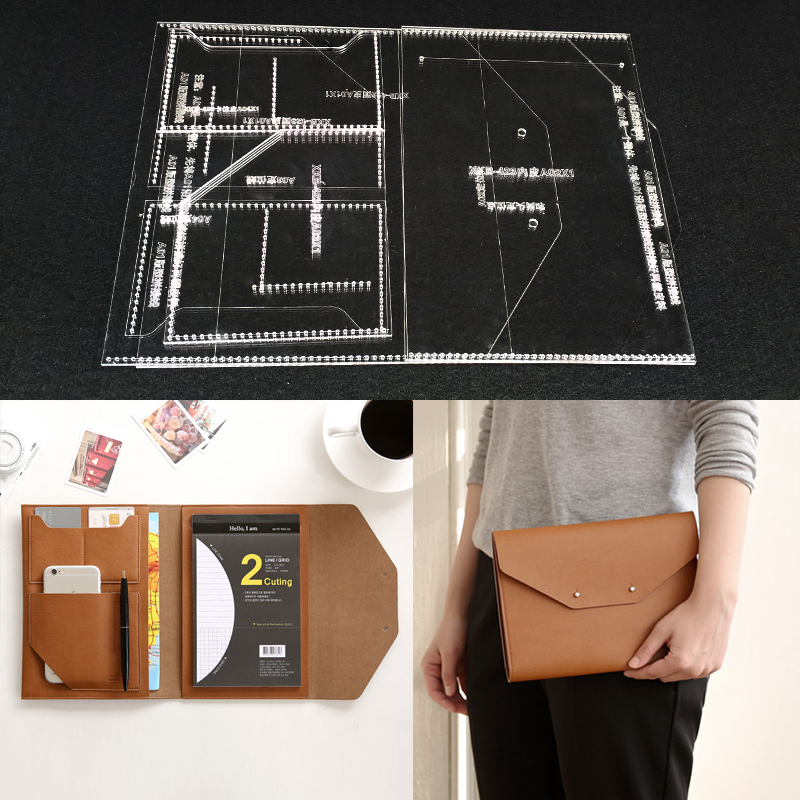 Handmamde Man Briefcase Acrylic Template Leather Pattern DIY Hobby Leathercraft Sewing pattern stencils 23x17x1cm|Sewing Patterns| |  - title=