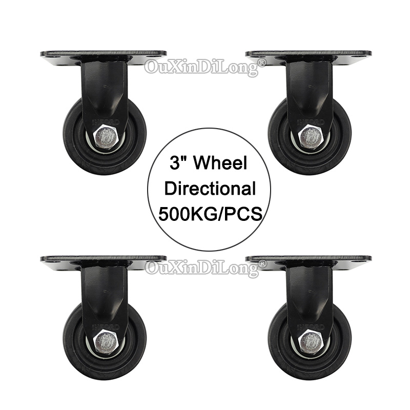 Directional 4PCS 3 heavy duty wheels load bearing 500kg/pcs casters industrial wheels universal wheel JF1645 new 4 swivel wheels caster industrial castor universal wheel artificial rubber heavy casters brake 360 degree rolling castors