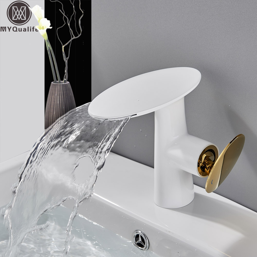 White Golden Basin Faucet Single Lever Waterfall Bathroom Vessel Sink Tap Deck Mounted Basin Mixer Faucet Hot Cold Water Tap waterfall basin faucet chrome single handle brass basin mixer tap bathroom deck mounted vessel sink hot cold water tap mixer