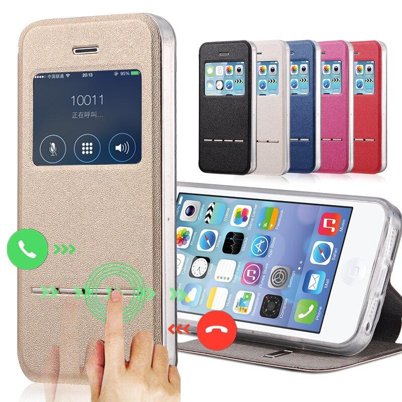 Ventana de visualización funda de cuero pu de lujo para el iphone 5s se accesori