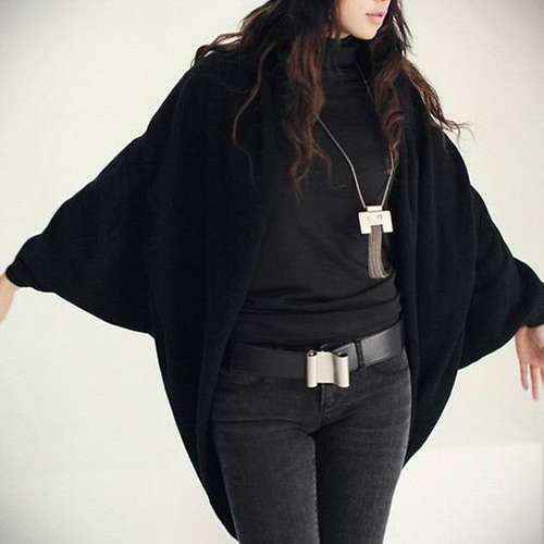 KSFS Women S Batwing Top Knit Cape Cardigan Three Quarter Sleeve Knitwear