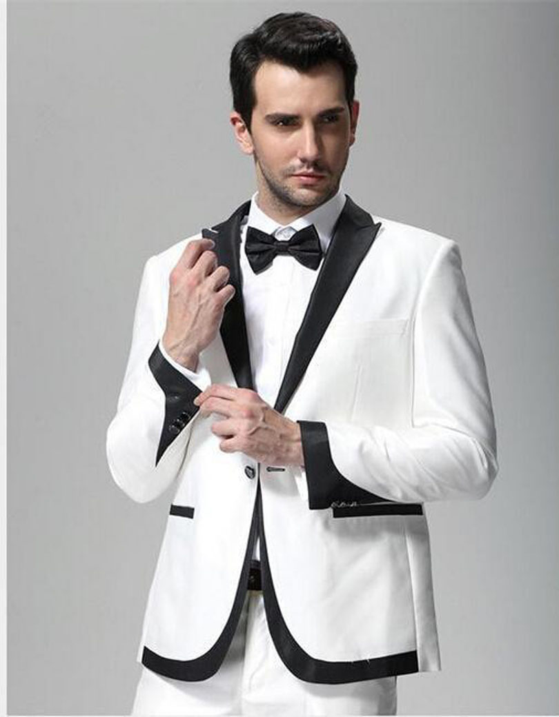 US $64.5 25% OFF|2020 Best Sellers Handsome Black One Button White Groom Tuxedos Men's Wedding Business Clothes(Jacket+pants+Bow tie) NO 546|tuxedo