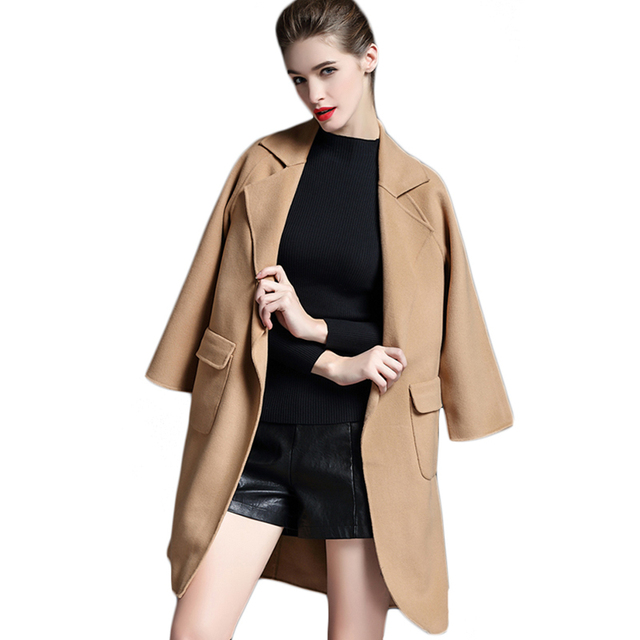 2017 Spring New Arrival Women Lapel Wool Coat Female Long  Cashmere Coats Ladies Winter Dust Coat Sashes Women's Parka F1856