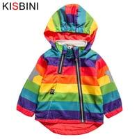 KISBINI New Boys Girl Jacket Children Rainbow Color Clothing Kids Hooded Coats Baby Windbreaker Outerwear Chaquetas
