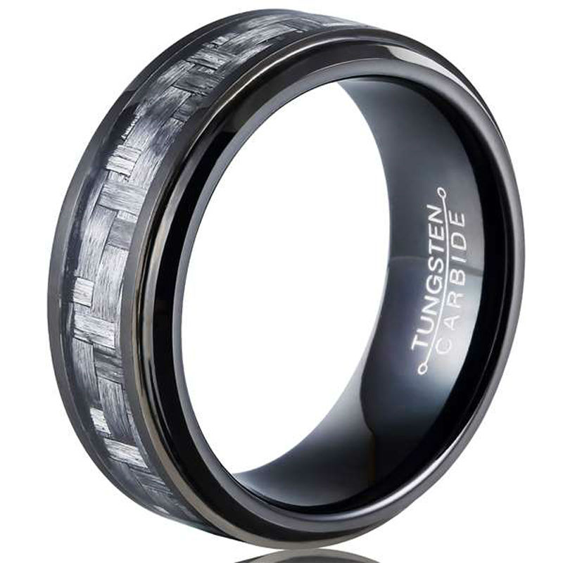 New Arrival Black Color 8mm Tungsten Carbide Rings for Man Inlay Carbon Fiber Man's Fashion Band Size 7 13