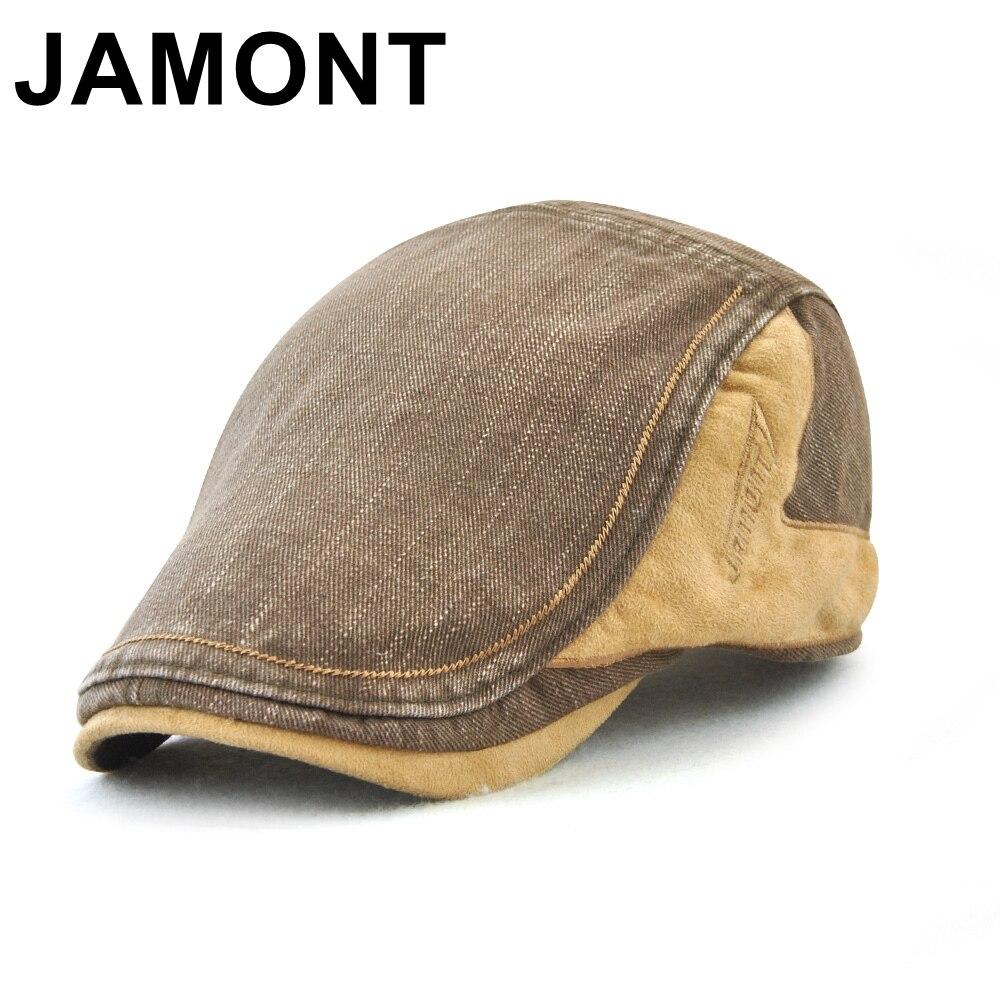 Jamont hombres vendimia casquillo del vendedor de periódicos del algodón verano otoño pico visera Cabbie Ivy Peaked Cap Baker Boy Boina ocasional Boina plana sombrero