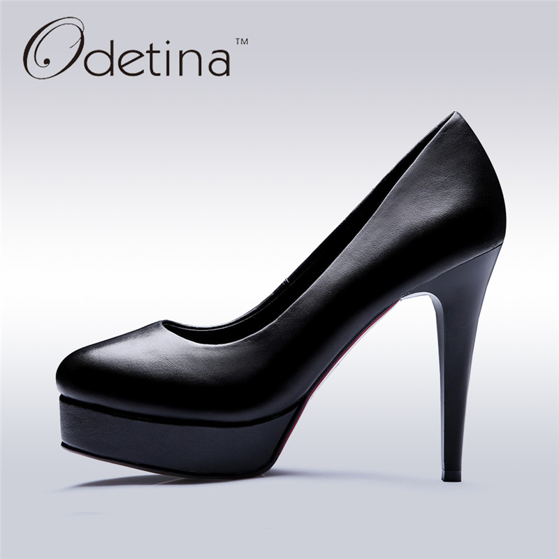 Odetina 2017 New Pointed Toe Genuine Leather Platform Pumps Sexy High Heels Office Ladies Shoes Elegant Stilettos Big Size 33-42 ladies western style sexy elegant ankle strap big size 4 to 15 soft suede genuine leather pointed toe shoes green white red