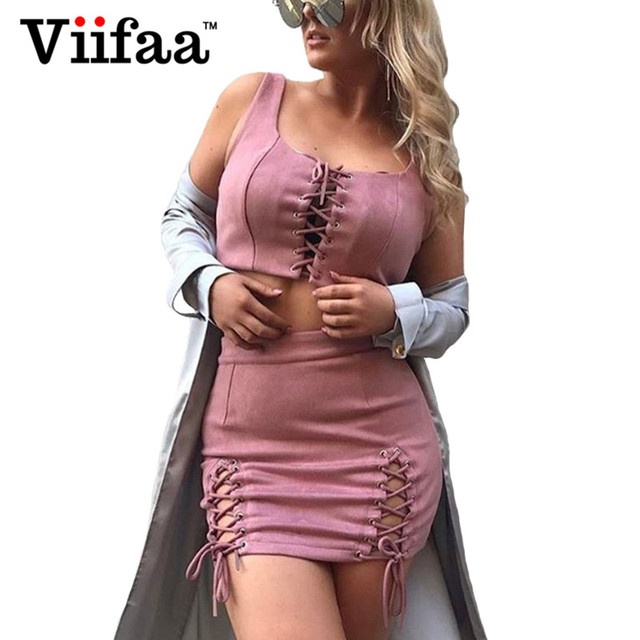 Viifaa Suede Leather Summer Dress Women Two Piece Outfits Bodycon Party Lace Up Dresses Sexy Mini Pink Dress