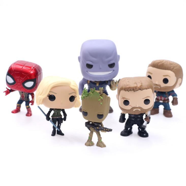 The Avengers Infinity War FUNKO POP Thanos Black Panther Black Widow Winter Soldier 10cm Action Figure Collection PVC Doll