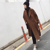 Wool Coat Women Long Maxi Coat Winter Wool Blends Coat Camel Double Breasted Thick Warm Outfit