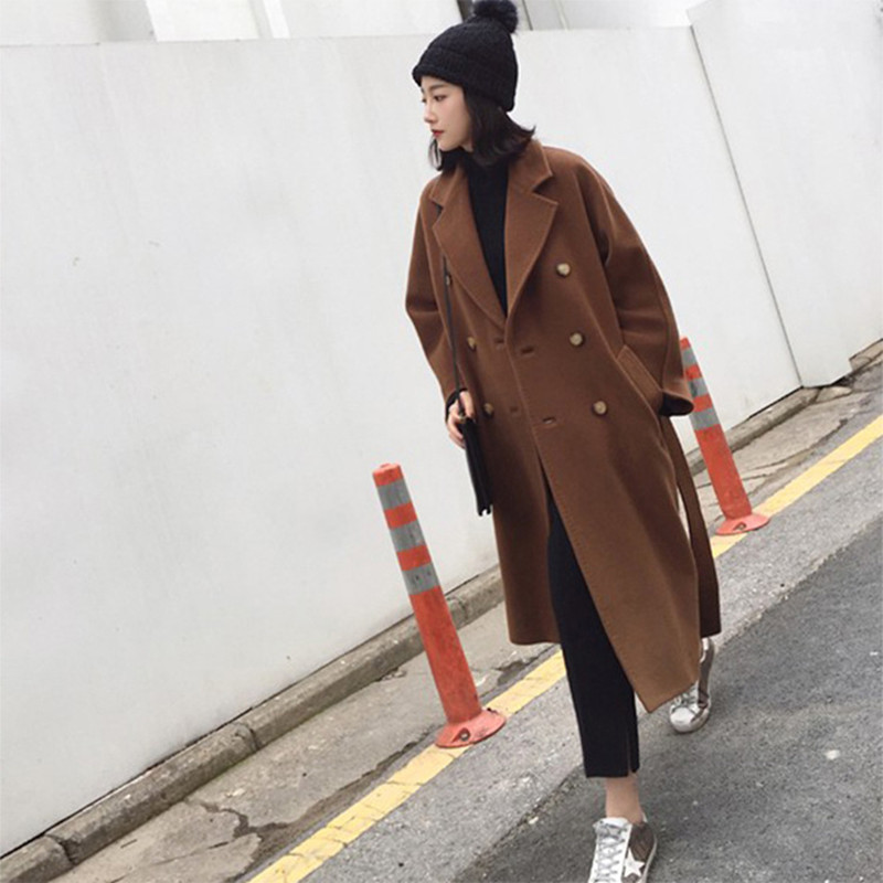 wool coat women long maxi coat winter Wool Blends coat camel double breasted thick warm outfit 2018 luxury brand high quality цена