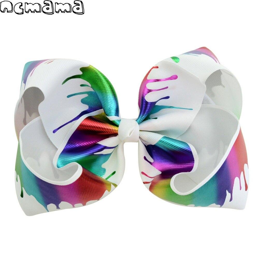 1Pc 7 Inch Jumbo Hairclips Rainbow Striped Dots Hais
