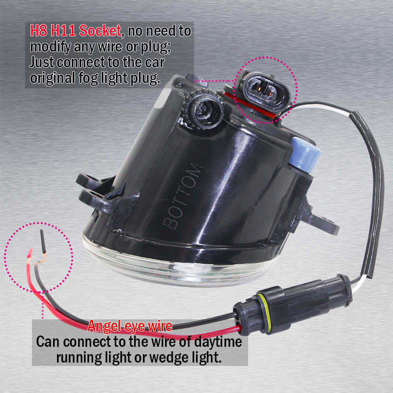 Cawanerl For Lexus IS-F IS F 2008-2013 Car 4000LM LED Bulb Front Fog Light + Angel Eye Daytime Running Light H11 12V 2 Pieces