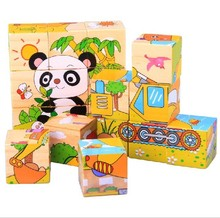2sets Wooden Children Early Learning Toy Six Sides Animals Vegetables Mickey Mouse Farm Cube Puzzle , 1Set=6Designs
