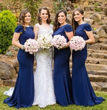 Elegant Navy Blue Bridesmaid Dresses 2019 New Mermaid Long Formal Wedding Party Dress O Neck Short Sleeve Prom Gowns