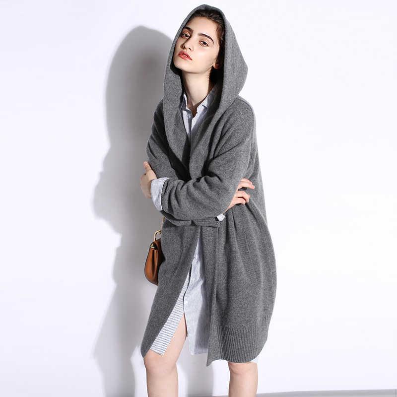 새로운 패션 2019 가을-겨울 회색 검은 카디 건 후드 스웨터와 여성을위한 캐주얼 플러스 크기 코트 긴 스웨터