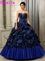 女の子ボールgowm quinceaneraのドレスロイヤルブルーロング床ビーズプリーツピックアップタフタコルセット甘い15 quinceaneraのドレス