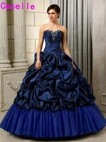 Girls Ball Gowm Prom Quinceanera Dresses Royal Blue Long Floor Beaded Pleats Pick ups Taffeta Corset Sweet 15 Quinceanera Dress