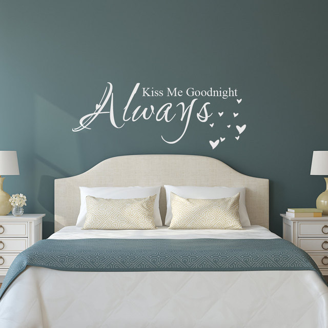 Love Quote Vinyl Wall Decal Sticker Always Kiss Me Goodnight Bedroom Decor