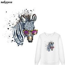 5pcs color Ink Painting sunglasses Zebra Patch T-shirt Dresses Sweater DIY Accessory Decoration A-level Washable Appliqued(China)
