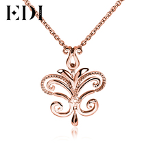 EDI Genuine Real 925 Sterling Silver Lab Grown Diamond Pendants For Women Moissanite Necklace Butterfly Gold Plated Jewelry