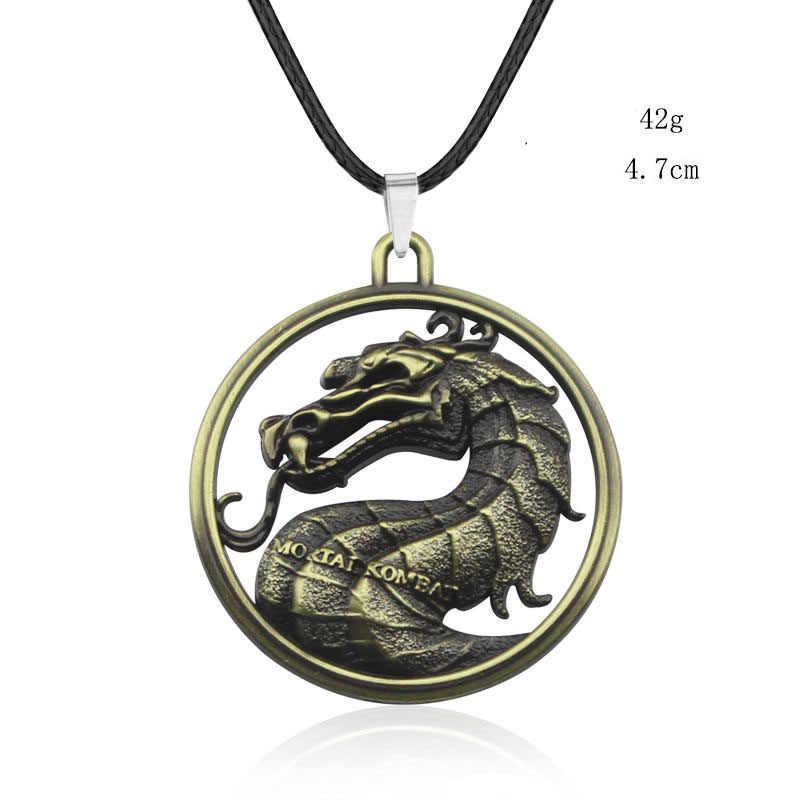 เกม Mortal Kombat Advance จี้สร้อยคอหนัง Chain โลหะรอบมังกรสร้อยคอเครื่องประดับของขวัญสำเร็จการศึกษา