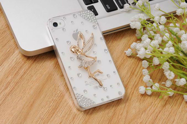 Fashion Women Fashion Luxury Crystal Bling Design 3d Workaman Ship Angel Girls Back Diamond Case for iphone4 4s accessory
