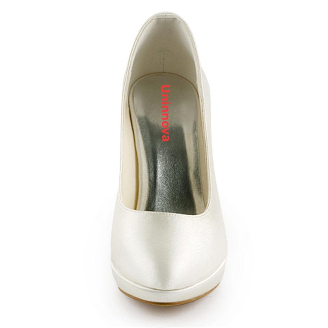 Elegantes Saltos Altos Finos Plataforma Bombas de Noiva de Cetim de Luxo Nupcial Da Dama de Honra Do Marfim Branco Champanhe Sapatos Uninnova 521 1 LY - 3