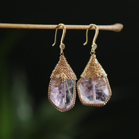 hand made manually original natural powder crystal ear hook earrings high grade accessories accessories wholesale