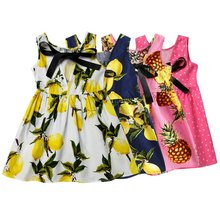 Lovely Kids Girl Summer Dress Cute Children Printing Pattern Cotton Blend Dress Clothes Vestidos Kids Teens Sleeves