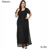 Dresses Women Evening Party Bodycorn Summer Maxi Sexy Lace Short Sleeve Plus Size 8XL Women Wedding Party Dresses Black Dress