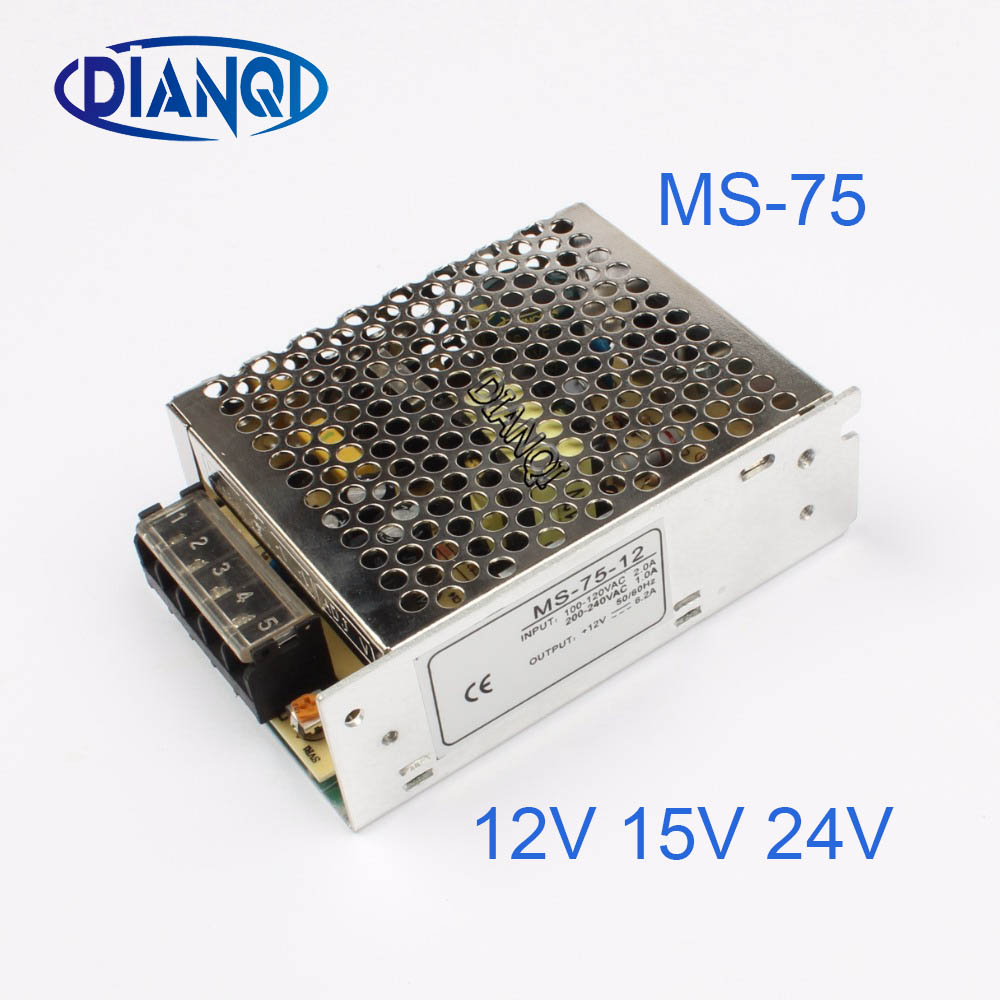 DIANQI Mini Size Switching Power Supply adjustable 12V Output voltage 75W ac to dc regulator for LED strip ms-75 15V 24V