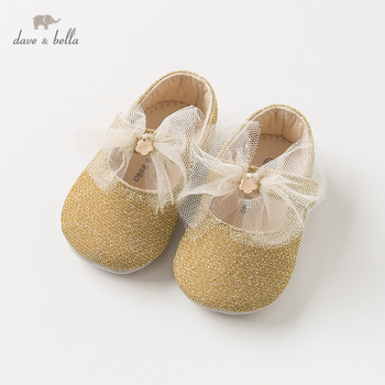 DB11609 Dave Bella spring autumn baby girl  new born yellow bow shoes children brand shoes