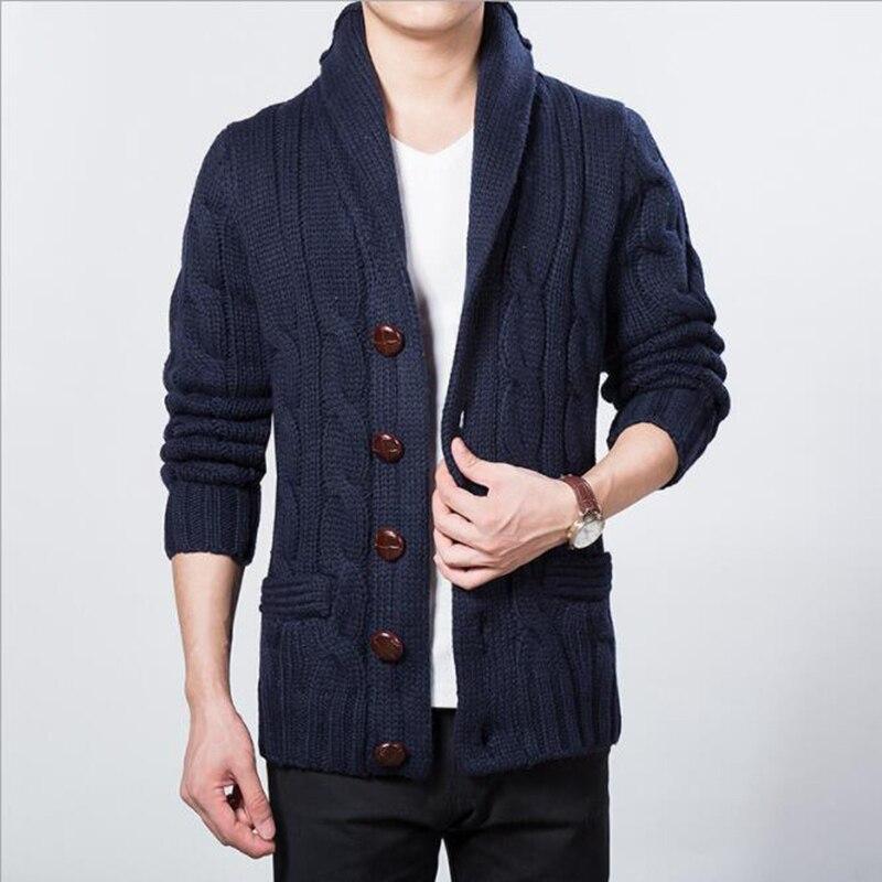Корейский мода деревянные кнопки зима мужской кардиган свитер для мужчин шаль воротник вязать пальто серый темно
