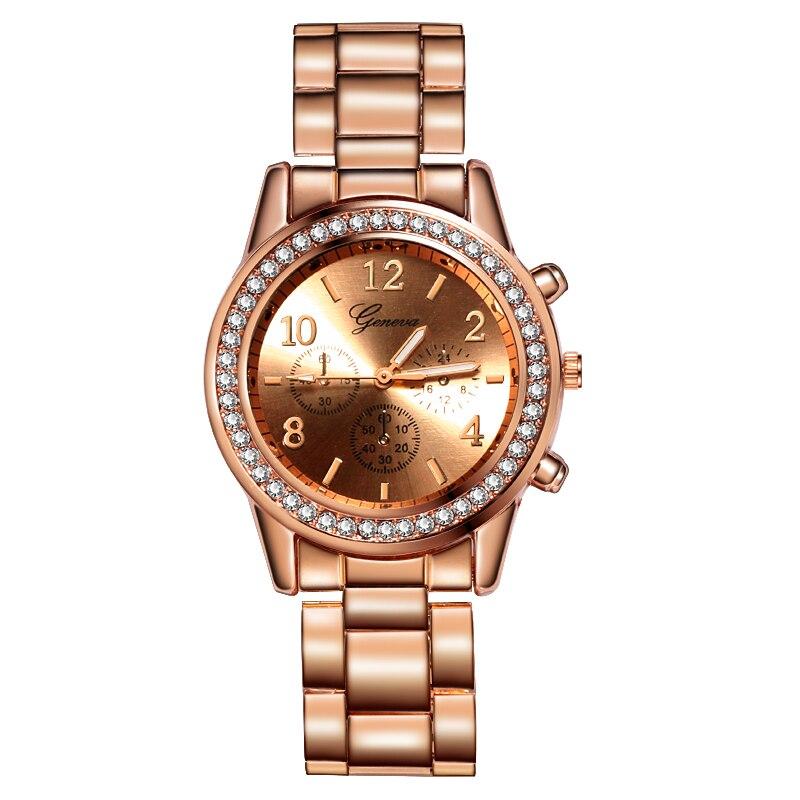 Женский Женева Классический раскошный ремешок для часов женские часы розовое золото женские часы Reloj Mujer Relogio Feminino