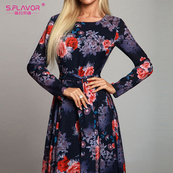 Elegant Women Robe Long Sleeve Printing Dress