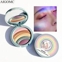 Gökkuşağı pırıltılı fosforlu toz aydınlatıcı makyaj yüz şekillendirme vurgulamak parlatıcı kapatıcı bronzlaştırıcı preslenmiş paleti