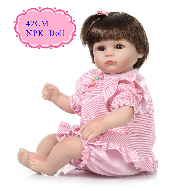 Interactive 42cm 17inch Reborn-Dolls With Cotton Made Soft Clothes Adora Benecas Bebe Reborn De Silicone As Christmas Girl Gift new style girl dolls full silicone reborn dolls with beautiful dress adora dolls bebe reborn de silicone menica