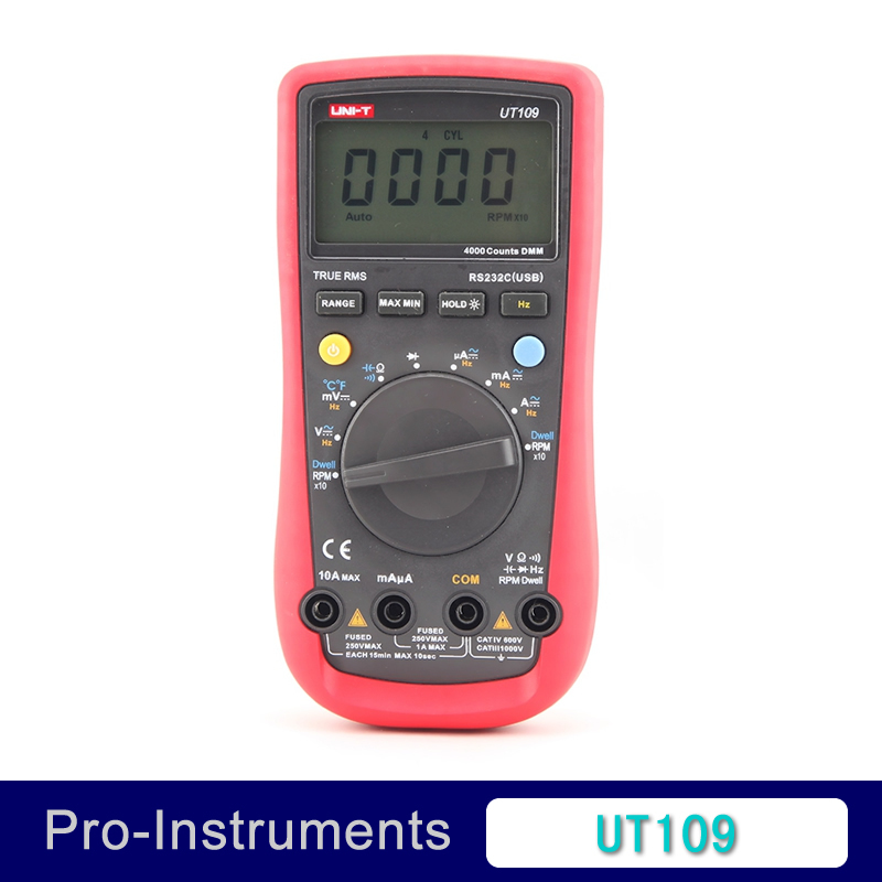 UNI-T UT109 Auto Ranging Automotive Multimeters professional Multimeter Volt Amp Ohm Capacitance Temp Frequency uni t ut60b modern auto ranging data hold dmm digital multimeters w capacitance