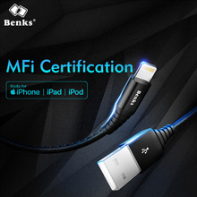 Benks MFi Fast Charging Data Cable 8 Pin For Apple iPhone X 10 8 7 6s 5 Plus Se IOS 9 10 Lighting Charger Cables USB Cable 1.2M