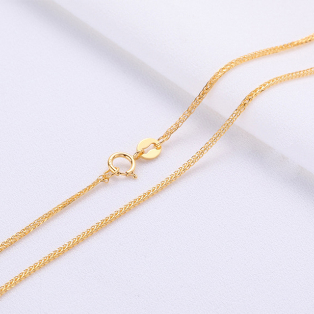 ANI 18K Yellow Gold (AU750) Chain Necklace for Women Engagement Three Color Fine Chopin Chain for Pendant 16 inches or 18 inches 2
