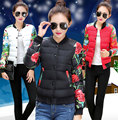 2016 Autumn Winter Parkas Down For Women Print Single Breasted Baseball Coat Casual Patchwork Womens Winter Jackets And Coats