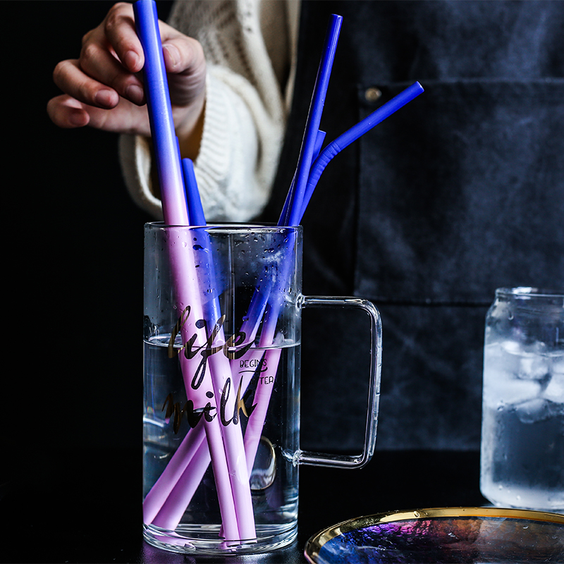 Reusable Metal Drinking Straws 304 Stainless Steel Temperature-Sensitive Colorful Straw with Cleaning Brush Bar Party Accessory