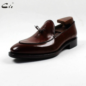 Image 2 - cie square toe bow tie brown boat  shoe hand painted calf leather men shoe handmade can change color breathable mens loafer 171